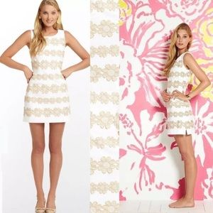 Lilly Pulitzer white and gold Delia shift dress 2